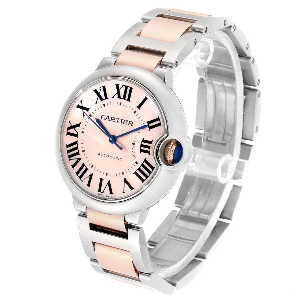 Cartier Ballon Bleu 36 Midsize Steel Rose Gold Pink MOP Watch W2BB0011 SwissWatchExpo
