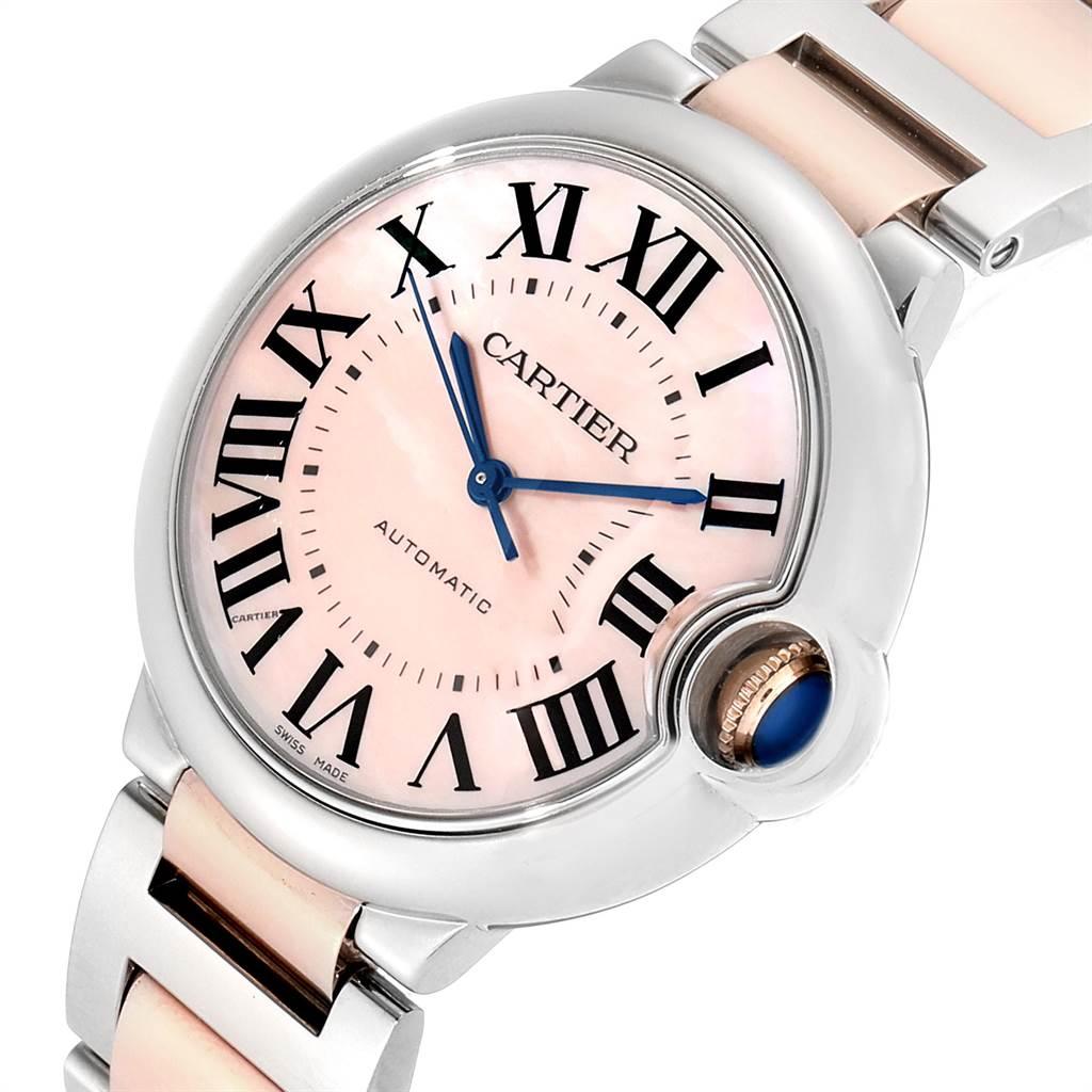 23308 Cartier Ballon Bleu 36 Midsize Steel Rose Gold Pink MOP Watch W2BB0011 SwissWatchExpo