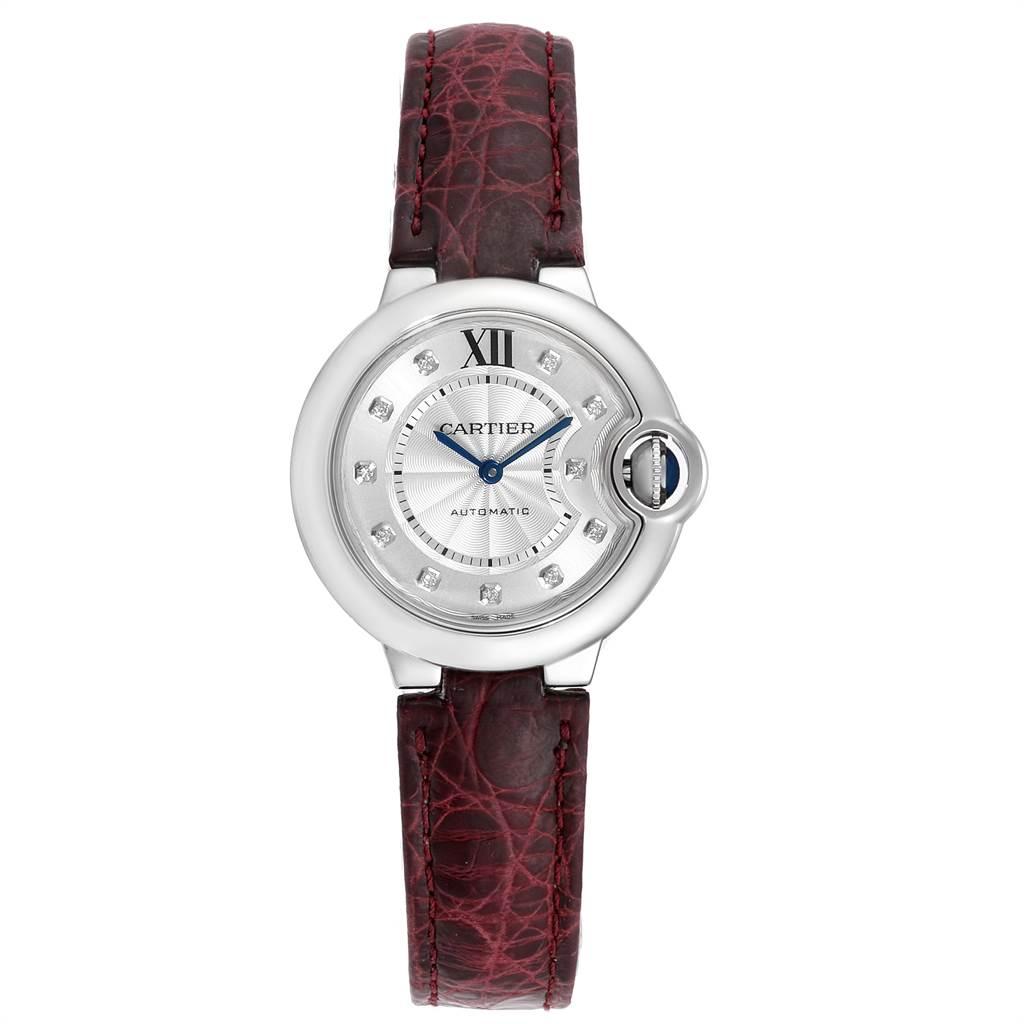 Cartier Ballon Bleu 33 Diamond Steel Ladies Watch W4BB0009 Box Papers SwissWatchExpo