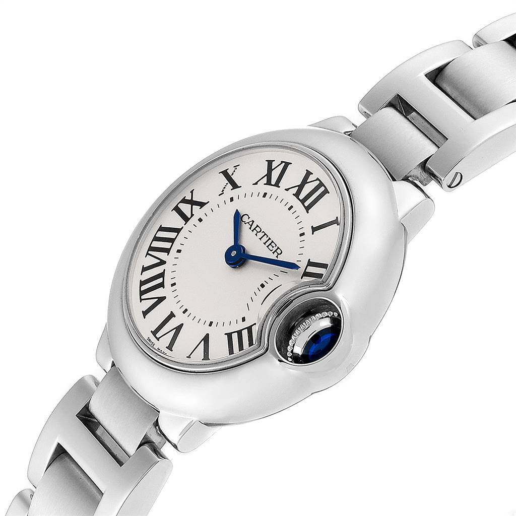 23889 Cartier Ballon Blue 29mm Silver Dial Ladies Watch W69010Z4 Box SwissWatchExpo
