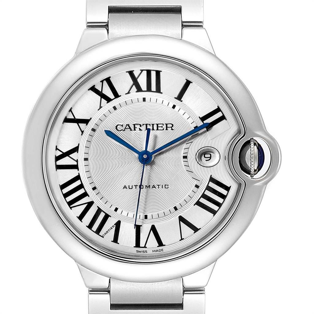 24332 Cartier Ballon Bleu 42 Silvr Dial Automatic Steel Unisex Watch W69012Z4 SwissWatchExpo