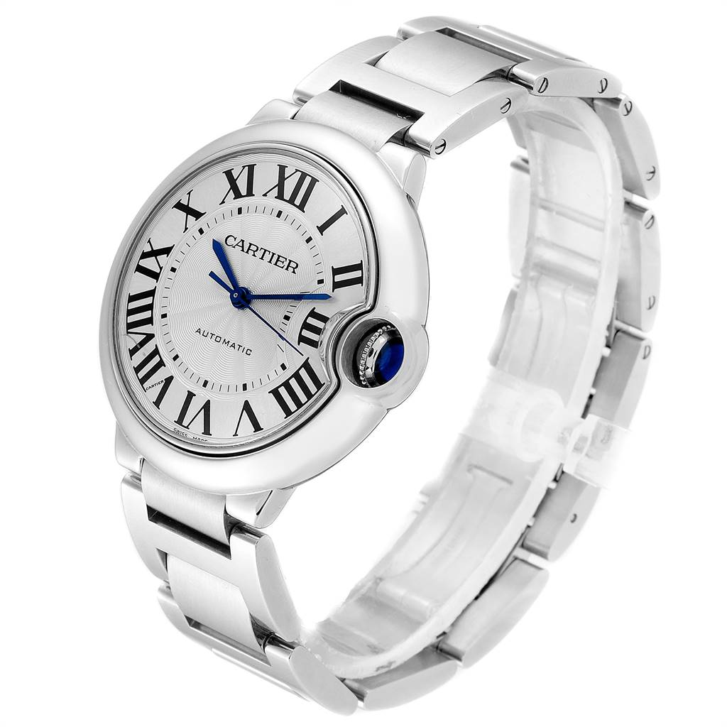 24317 Cartier Ballon Bleu Midsize 36mm Silver Dial Steel Ladies Watch W6920046 SwissWatchExpo