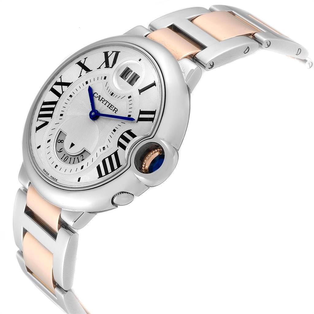 Cartier Ballon Bleu Steel Rose Gold Dual Time Zone Watch W6920027 Box Papers SwissWatchExpo