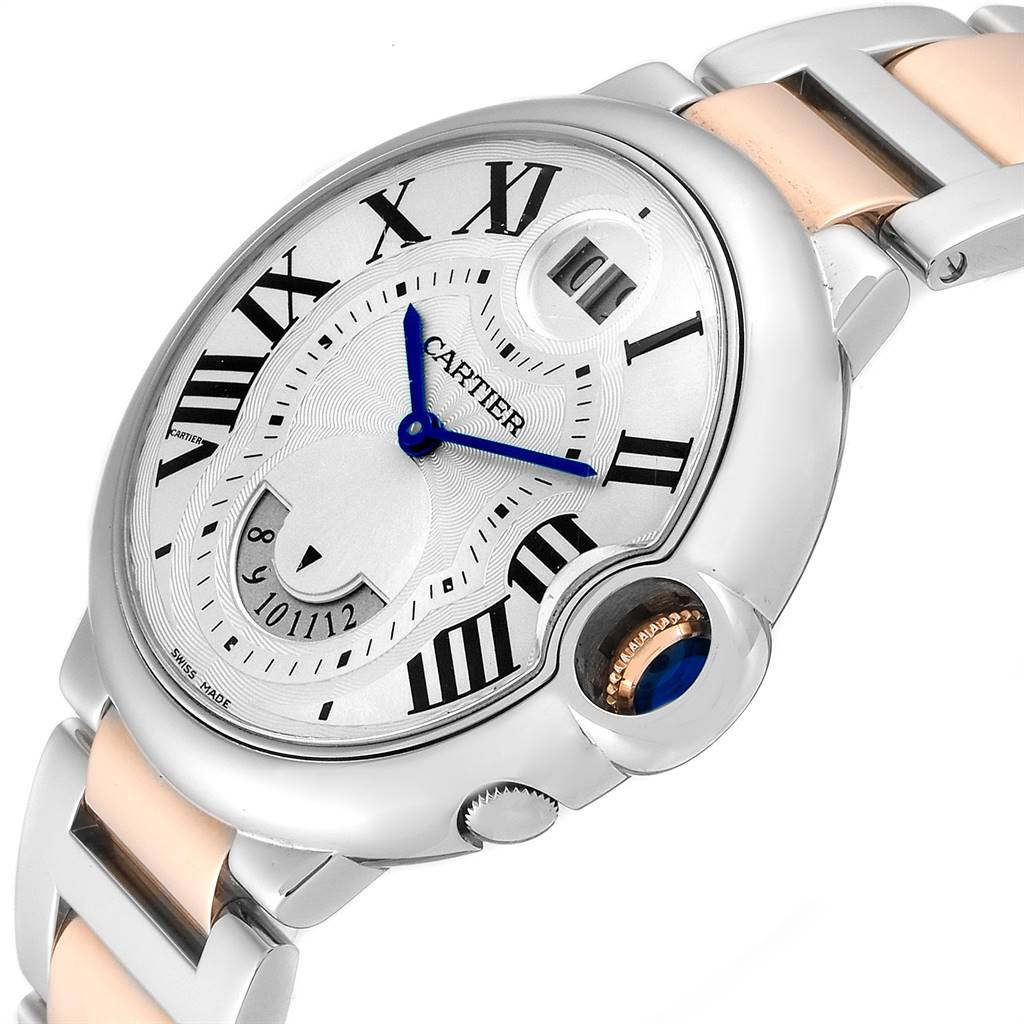 24815 Cartier Ballon Bleu Steel Rose Gold Dual Time Zone Watch W6920027 Box Papers SwissWatchExpo
