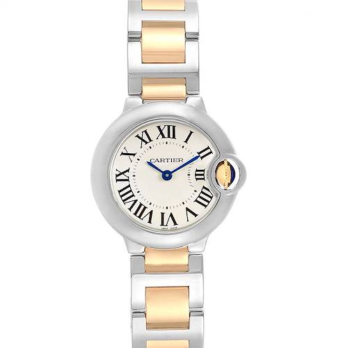 Photo of Cartier Ballon Blue 28 Steel Yellow Gold Ladies Watch W69007Z3 Box Papers