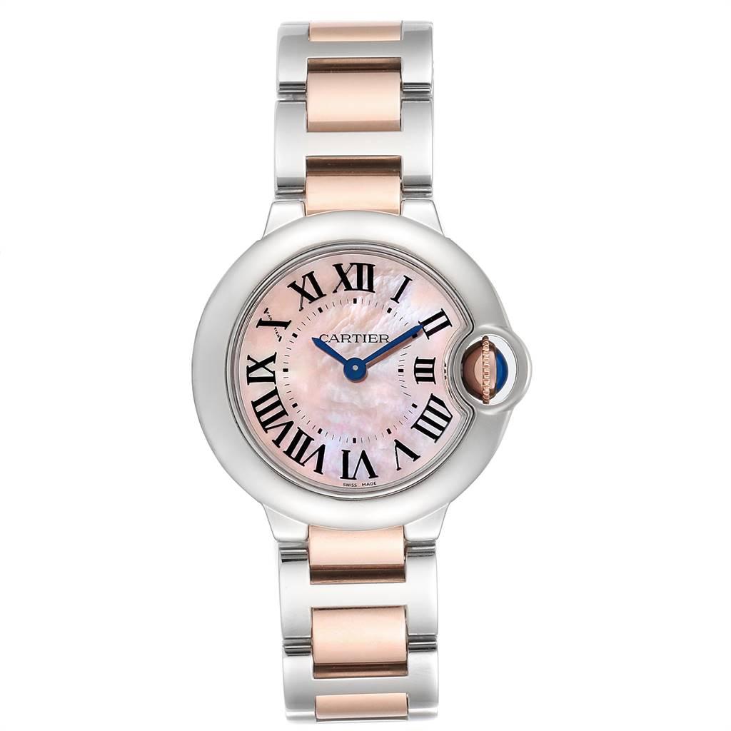 Cartier Ballon Bleu Rose Gold Steel Mother of Pearl Ladies Watch W6920034 SwissWatchExpo