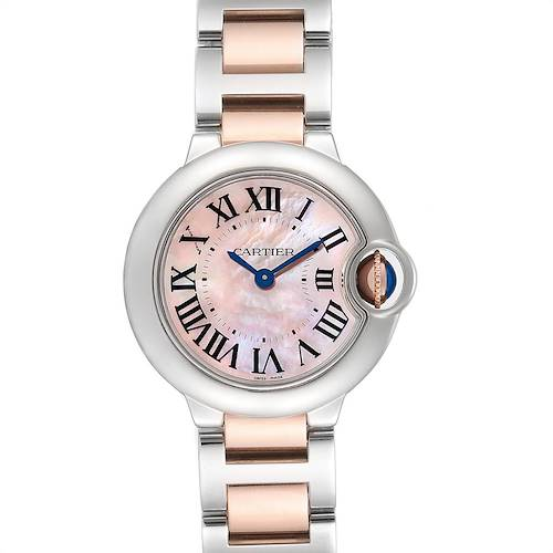 Photo of Cartier Ballon Bleu Rose Gold Steel Mother of Pearl Ladies Watch W6920034