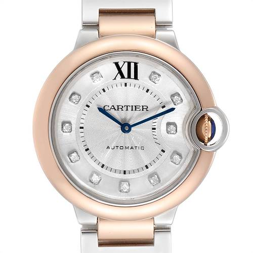 Photo of Cartier Ballon Bleu 36 Midsize Steel Rose Gold Diamond Watch W3BB0018