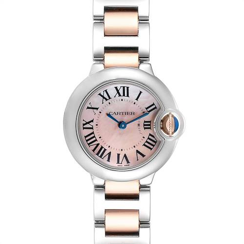 Cartier Ballon Bleu Rose Gold Steel MOP Ladies Watch W6920034 Box Papers