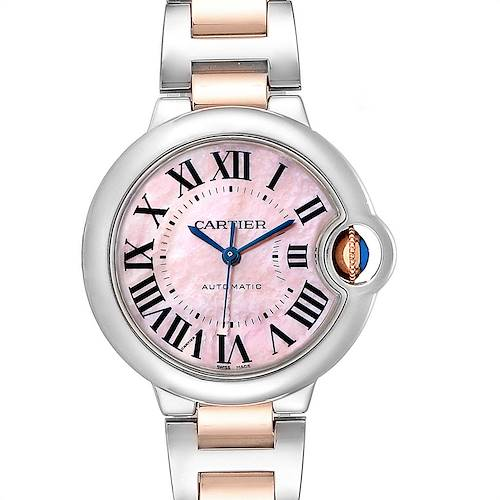 Photo of Cartier Ballon Bleu 33 Midsize Steel Rose Gold MOP Ladies Watch W6920098