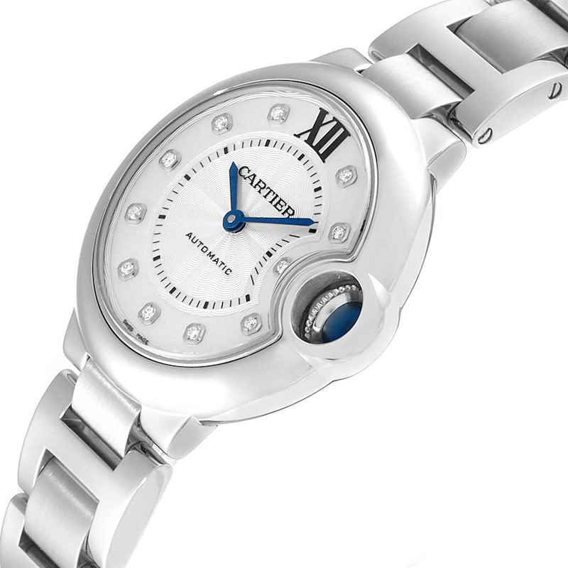 Cartier Ballon Bleu 33mm Automatic Diamond Steel Ladies Watch WE902074 SwissWatchExpo