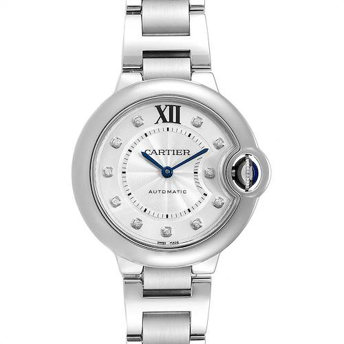 Cartier Ballon Bleu 33mm Automatic Diamond Steel Ladies Watch WE902074