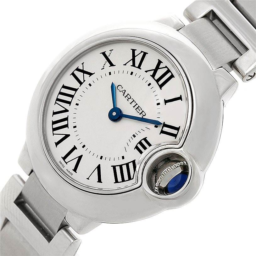 8355 Cartier Ballon Blue Steel Small Ladies Watch W69010Z4 SwissWatchExpo