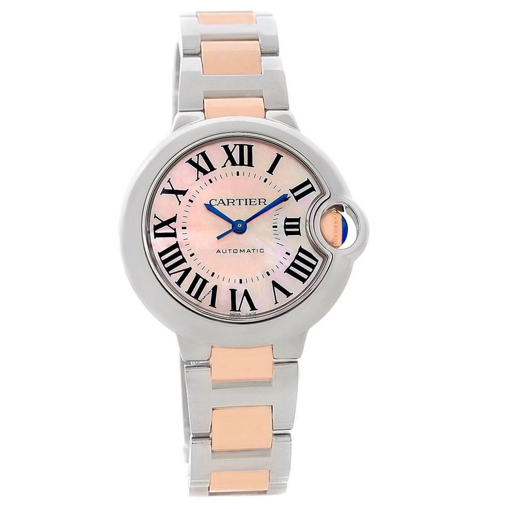 8480 Cartier Ballon Bleu Midsize Ladies Steel Rose Gold Watch W6920070 SwissWatchExpo