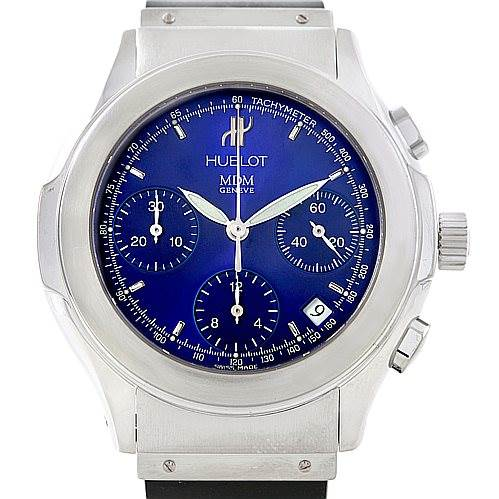 Hublot Elegance Chronograph Steel Blue Dial Watch 1810.1 SwissWatchExpo