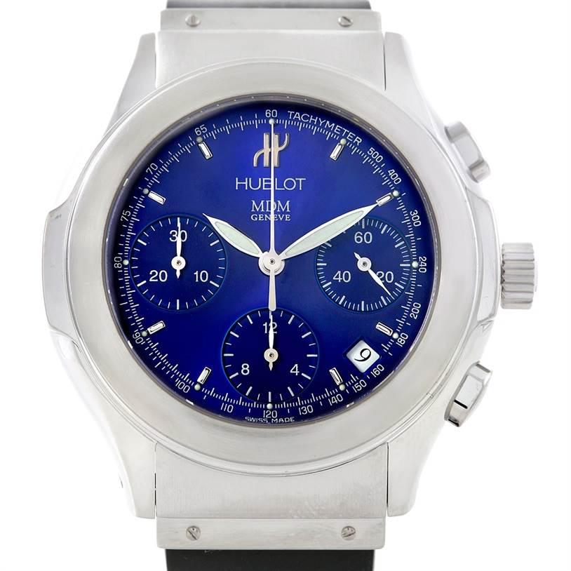 6982 Hublot Elegance Chronograph Steel Blue Dial Watch 1810.1 SwissWatchExpo