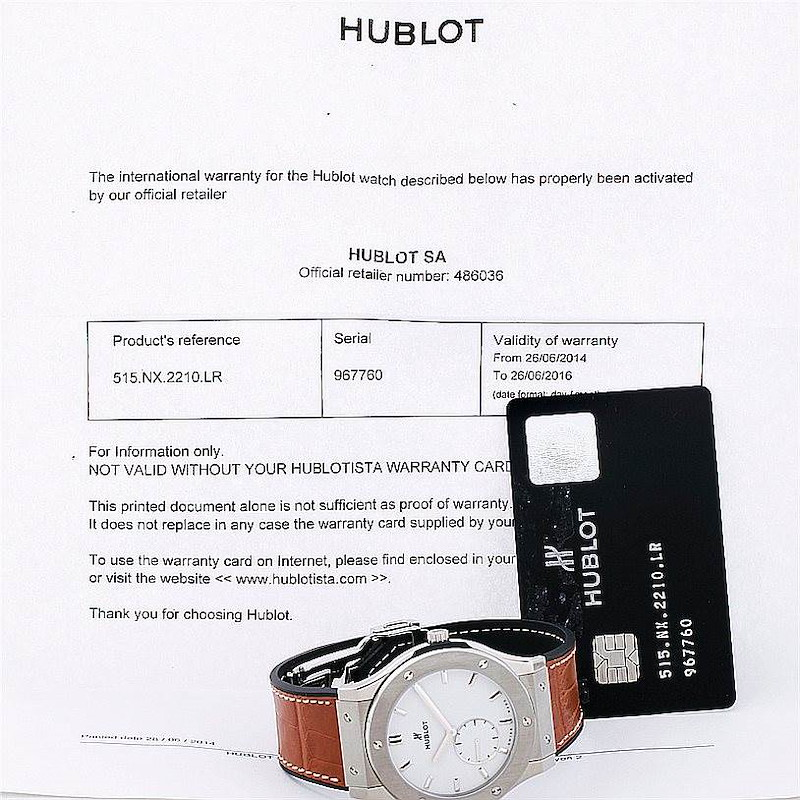 Hublot Classic Fusion Classico Ultra Thin 45mm Watch 515.nX.2210.LR SwissWatchExpo
