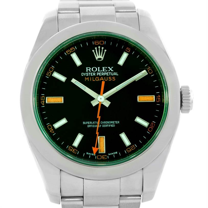 Rolex Milgauss Black Dial Green Crystal Mens Watch 116400V