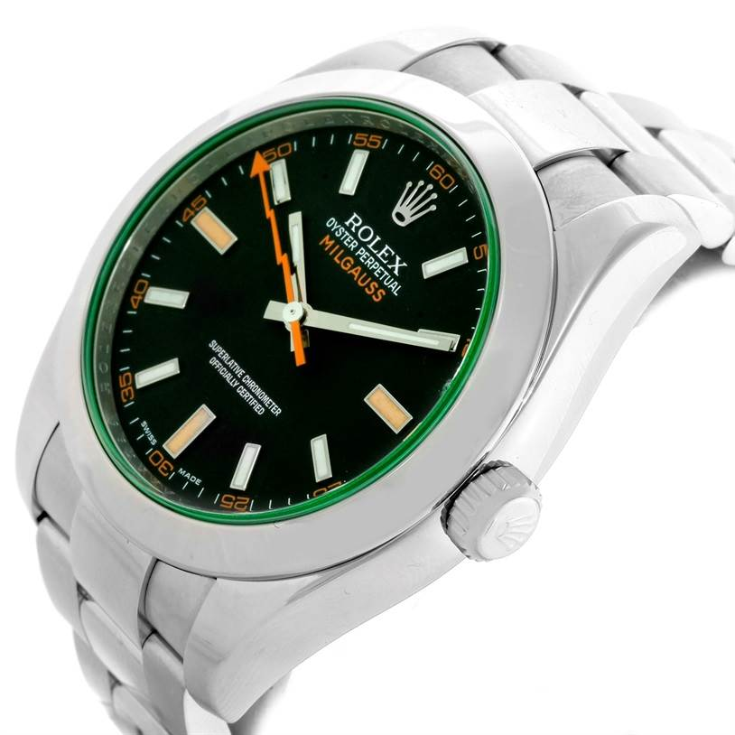 Rolex Milgauss Black Dial Green Crystal Mens Watch 116400V SwissWatchExpo