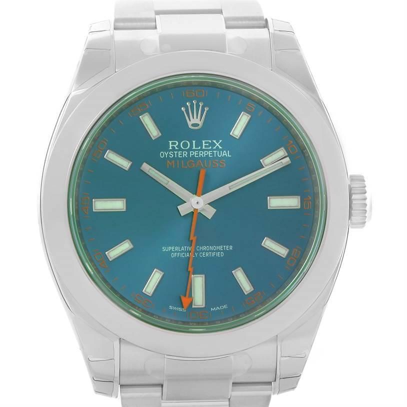 Rolex Milgauss Blue Dial Green Crystal Mens Watch 116400GV Unworn SwissWatchExpo
