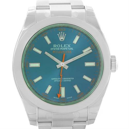 Photo of Rolex Milgauss Blue Dial Green Crystal Mens Watch 116400GV Unworn
