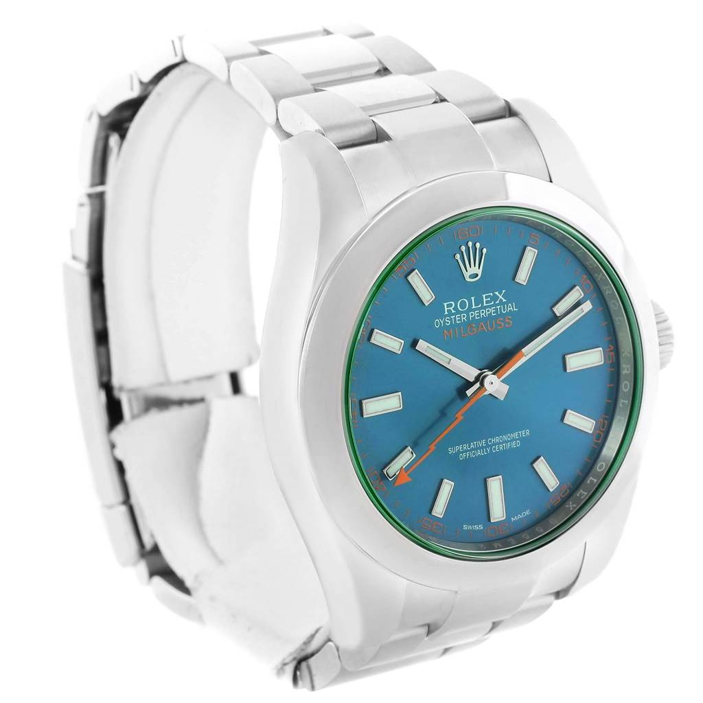 Rolex Milgauss Blue Dial Green Crystal Mens Watch 116400GV SwissWatchExpo