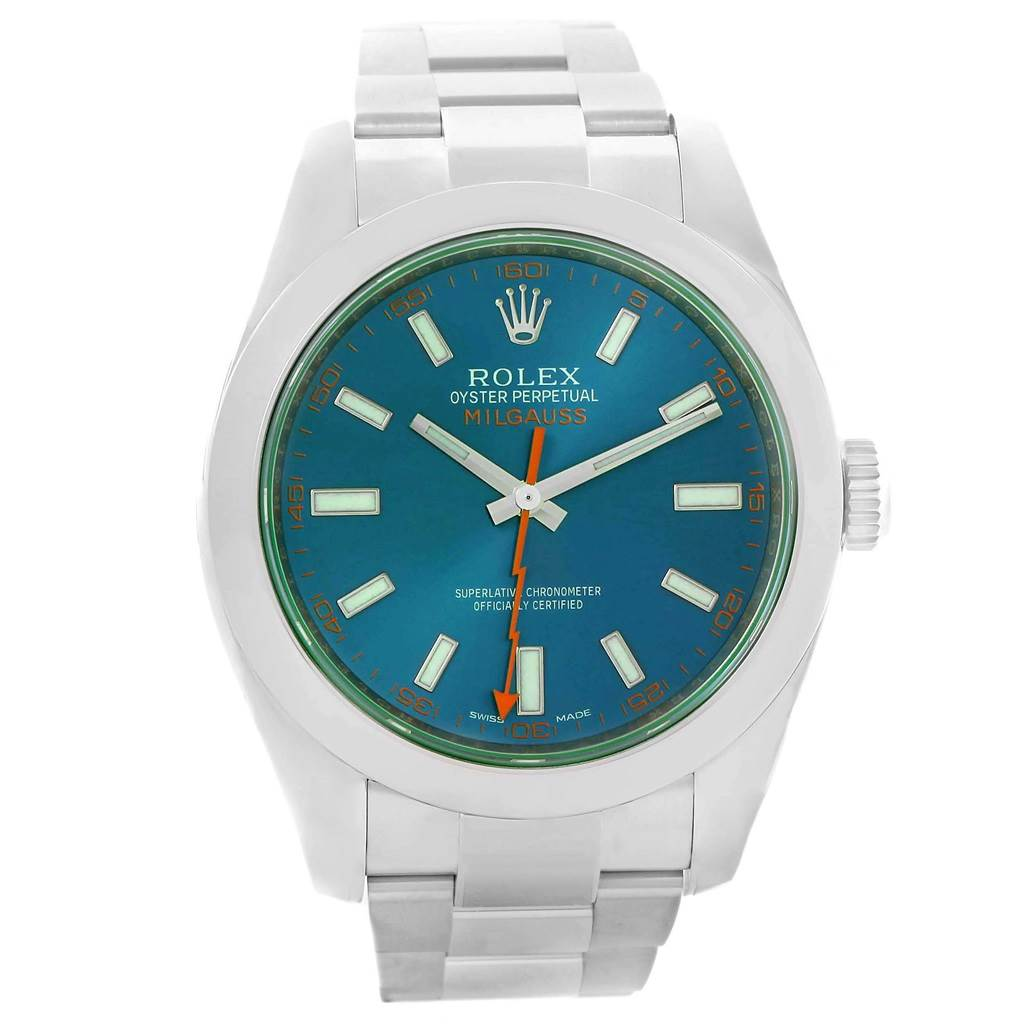 Rolex Milgauss Blue Dial Green Crystal Mens Watch 116400GV