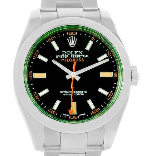 Photo of Rolex Milgauss Black Dial Green Crystal Steel Mens Watch 116400V