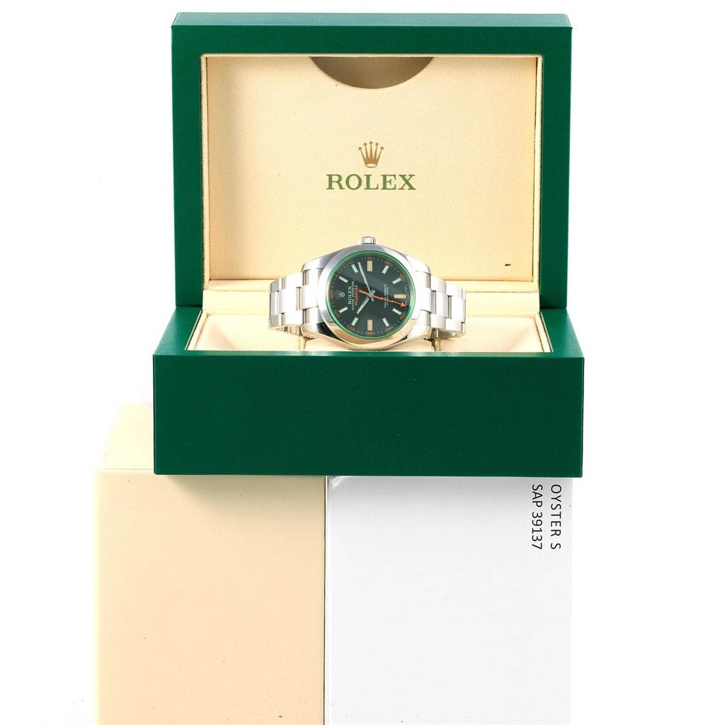 Rolex Milgauss Green Crystal Stainless Steel Mens Watch 116400V SwissWatchExpo