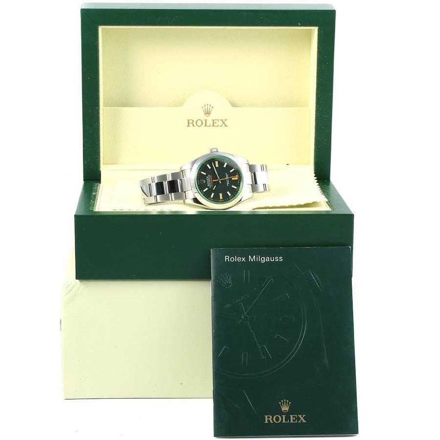 Rolex Milgauss Domed Bezel Green Crystal Steel Mens Watch 116400V SwissWatchExpo