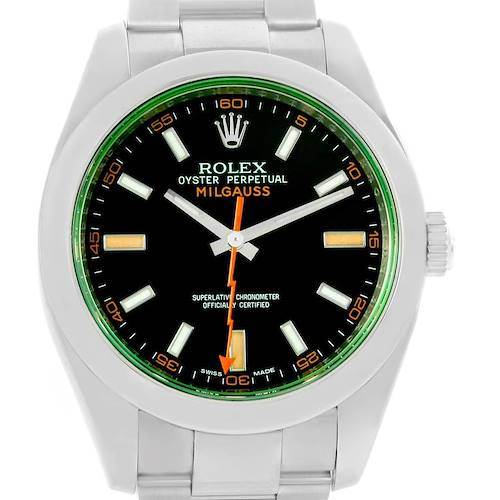 Photo of Rolex Milgauss Domed Bezel Green Crystal Steel Mens Watch 116400V