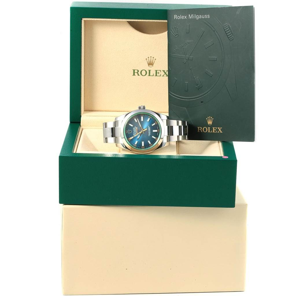 Rolex Milgauss Blue Dial Green Crystal Mens Watch 116400 SwissWatchExpo
