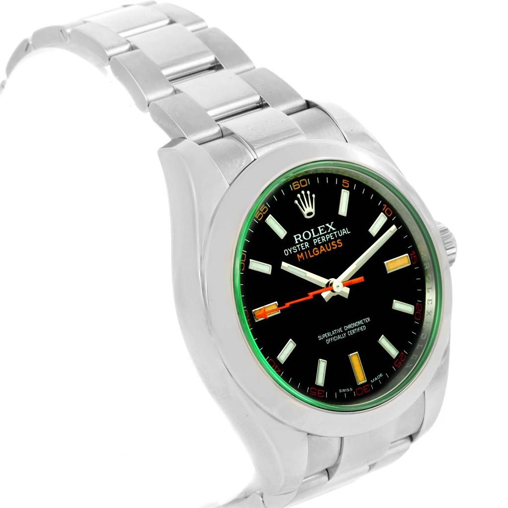 Rolex Milgauss Domed Bezel Green Crystal Mens Watch 116400V Box SwissWatchExpo