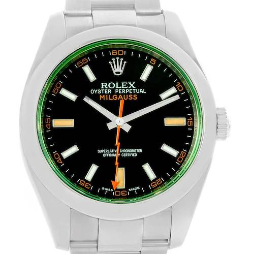 Photo of Rolex Milgauss Domed Bezel Green Crystal Mens Watch 116400V Box