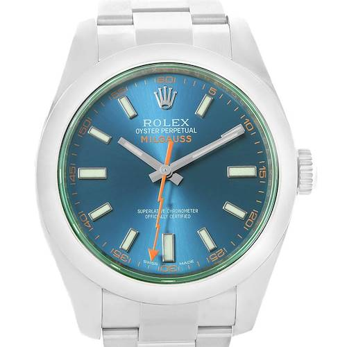 Photo of Rolex Milgauss Blue Dial Green Crystal Mens Watch 116400