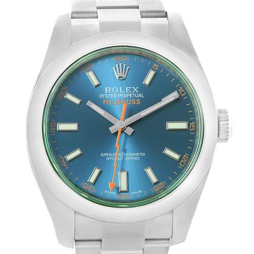 Photo of Rolex Milgauss Blue Dial Green Crystal Mens Watch 116400GV Box Card