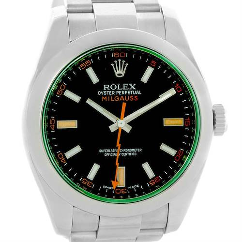 Photo of Rolex Milgauss Black Dial Green Crystal Mens Watch 116400V