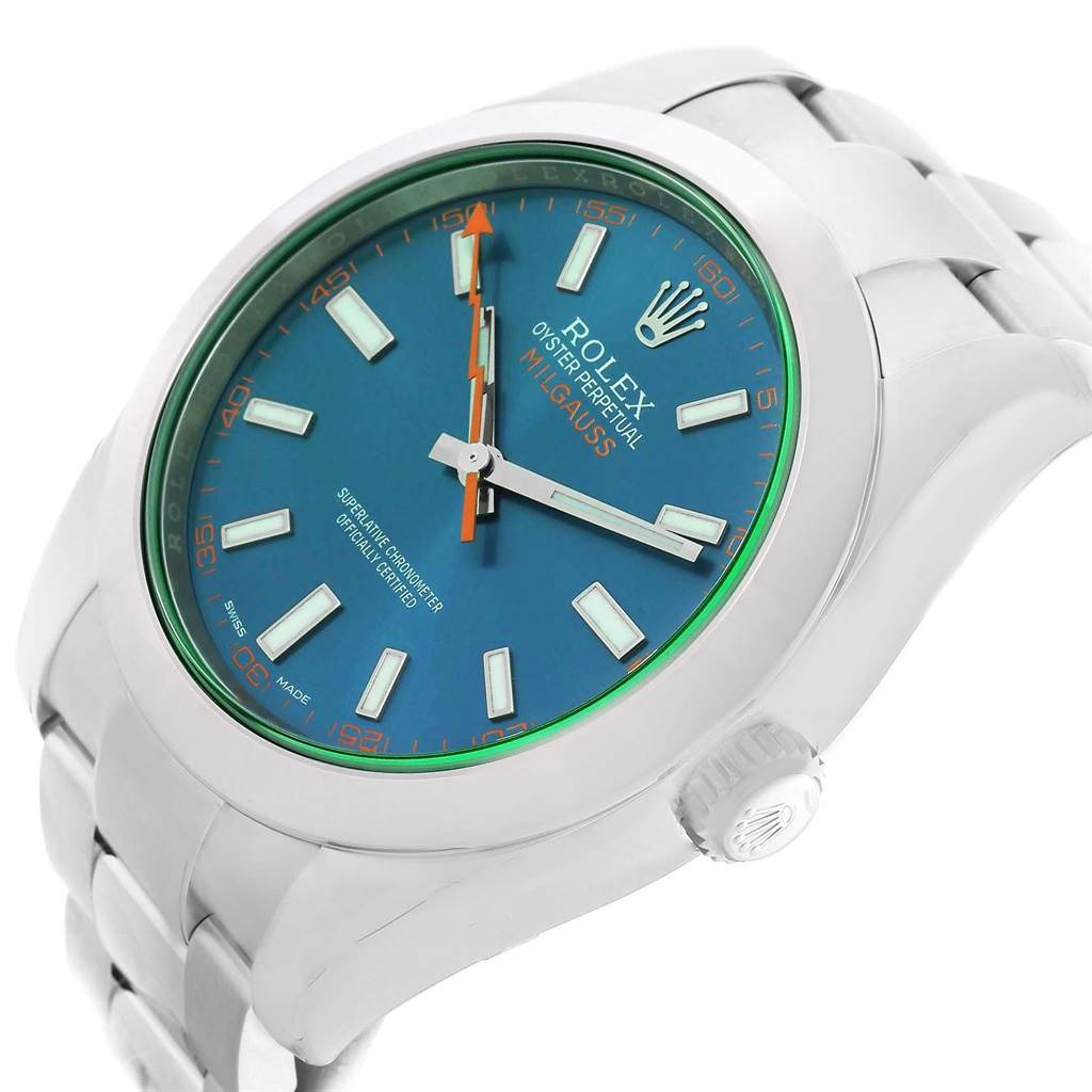 Rolex Milgauss Blue Dial Green Crystal Mens Watch 116400GV Box Papers SwissWatchExpo