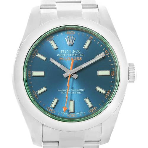Photo of Rolex Milgauss Blue Dial Green Crystal Mens Watch 116400GV Box Papers