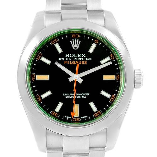 Photo of Rolex Milgauss Black Dial Green Domed Bezel Crystal Mens Watch 116400V