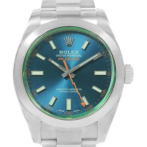 Photo of Rolex Milgauss Blue Dial Green Crystal Mens Watch 116400V Box Card