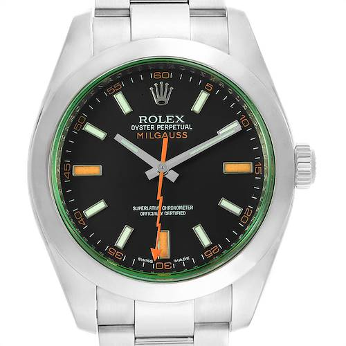 Photo of Rolex Milgauss Black Dial Green Crystal Mens Watch 116400V Box Card