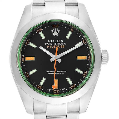 Photo of Rolex Milgauss Green Crystal Steel Mens Watch 116400V Box Card