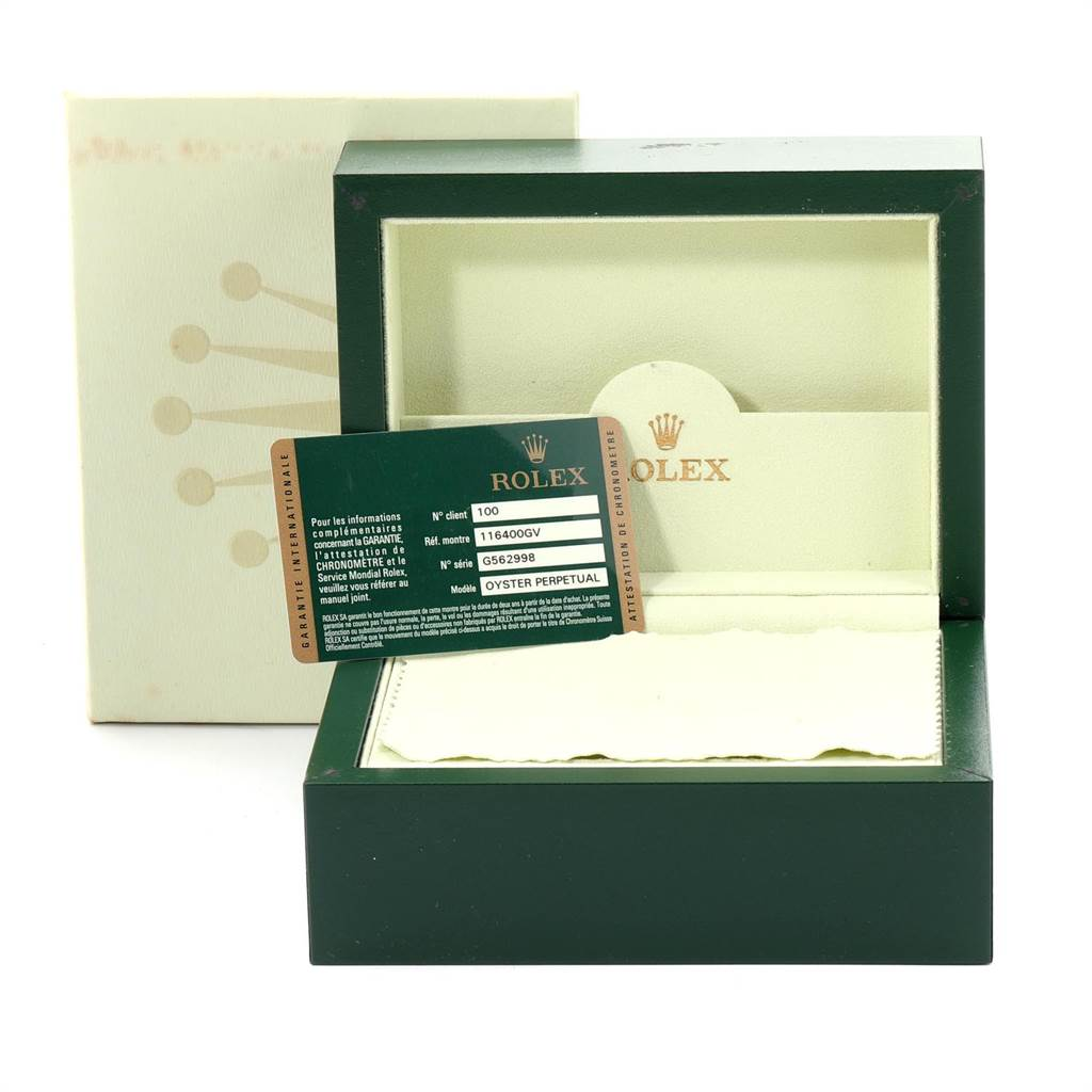 Rolex Milgauss Green Crystal Steel Mens Watch 116400V Box Card SwissWatchExpo