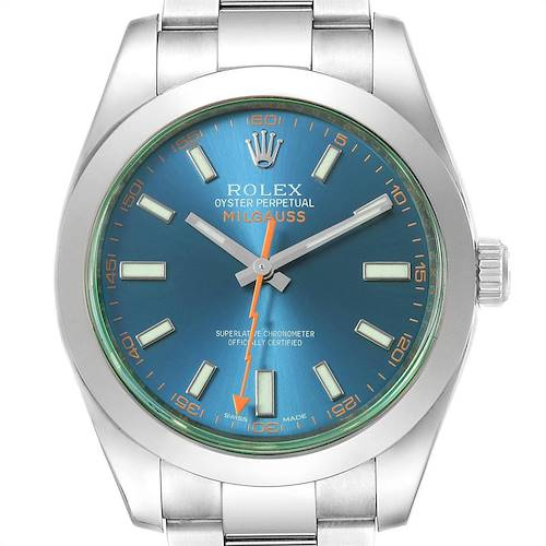 Photo of Rolex Milgauss Blue Dial Green Crystal Mens Watch 116400GV