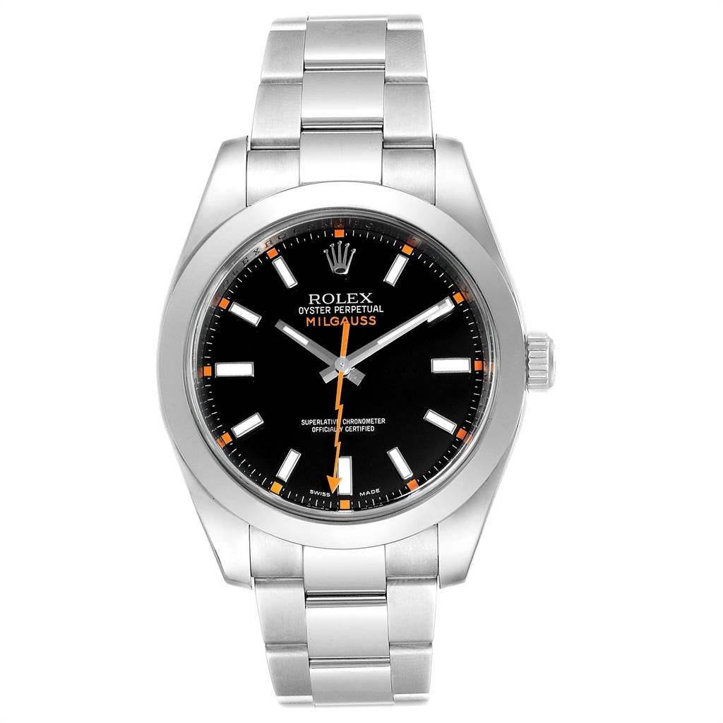 Rolex Milgauss Black Dial Domed Bezel Steel Mens Watch 116400 SwissWatchExpo