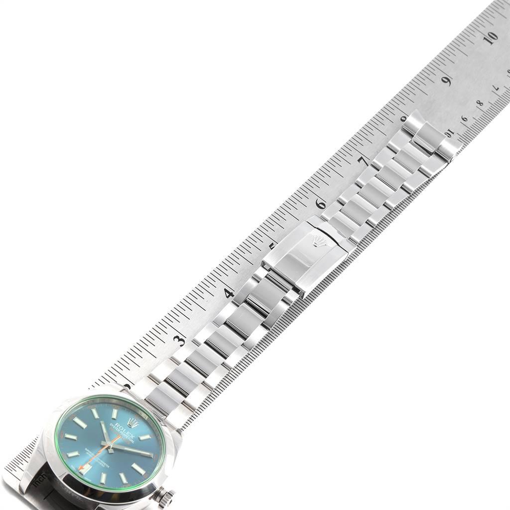 Rolex Milgauss Blue Dial Green Crystal Steel Mens Watch 116400GV SwissWatchExpo