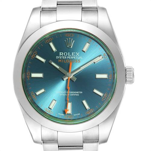 Photo of Rolex Milgauss Blue Dial Green Crystal Steel Mens Watch 116400GV