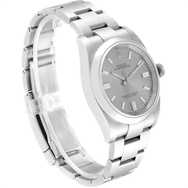 Rolex Oyster Perpetual Rhodium Dial Steel Mens Watch 116000 Box Card SwissWatchExpo
