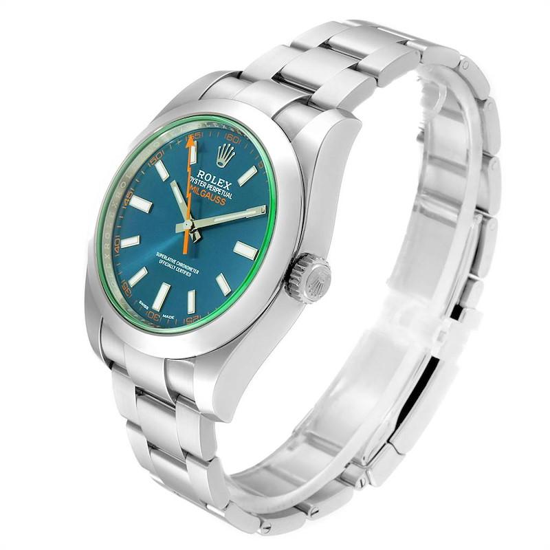Rolex Milgauss Blue Dial Green Crystal Mens Watch 116400 Box Card SwissWatchExpo